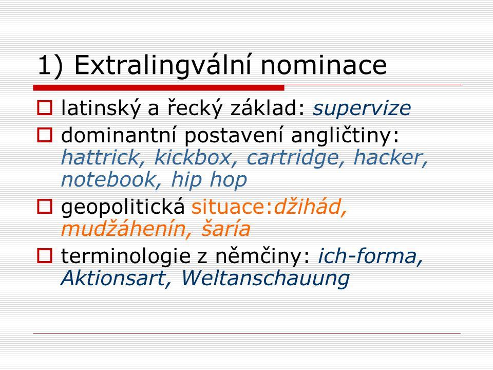 1) Extralingvální nominace  latinský a řecký základ: supervize  dominantní postavení angličtiny: hattrick, kickbox, cartridge, hacker, notebook, hip
