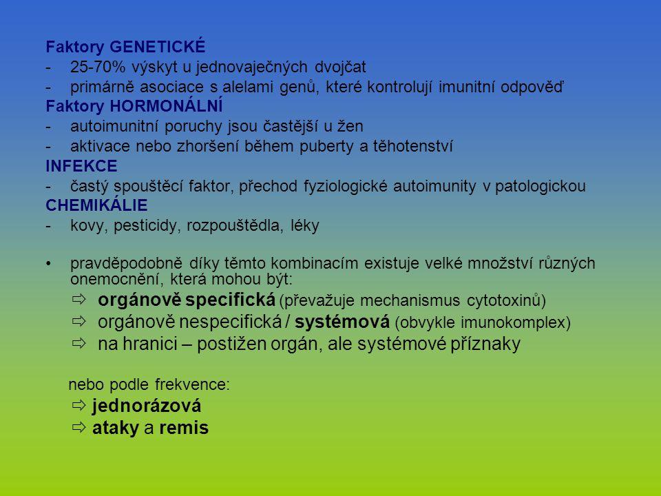Faktory GENETICKÉ -25-70% výskyt u jednovaječných dvojčat -primárně asociace s alelami genů, které kontrolují imunitní odpověď Faktory HORMONÁLNÍ -aut
