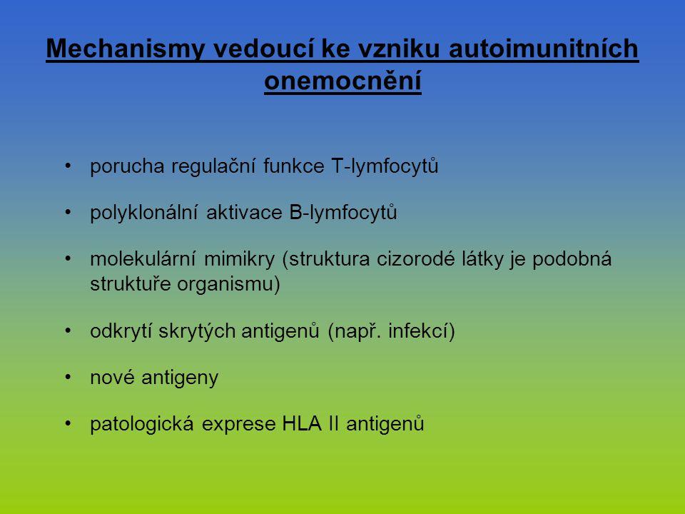 Mechanismy vedoucí ke vzniku autoimunitních onemocnění porucha regulační funkce T-lymfocytů polyklonální aktivace B-lymfocytů molekulární mimikry (str