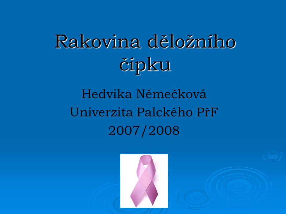 Rakovina děložního čípku Hedvika Němečková Univerzita Palckého PřF 2007/2008