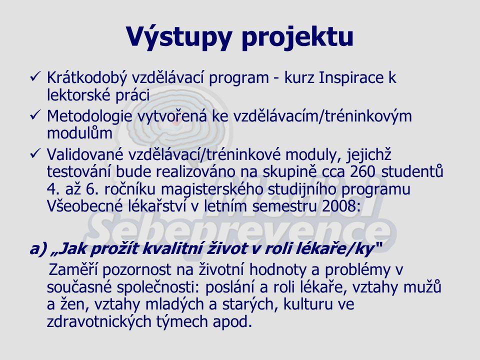 Krátkodobý vzdělávací program - kurz Inspirace k lektorské práci Metodologie vytvořená ke vzdělávacím/tréninkovým modulům Validované vzdělávací/trénin