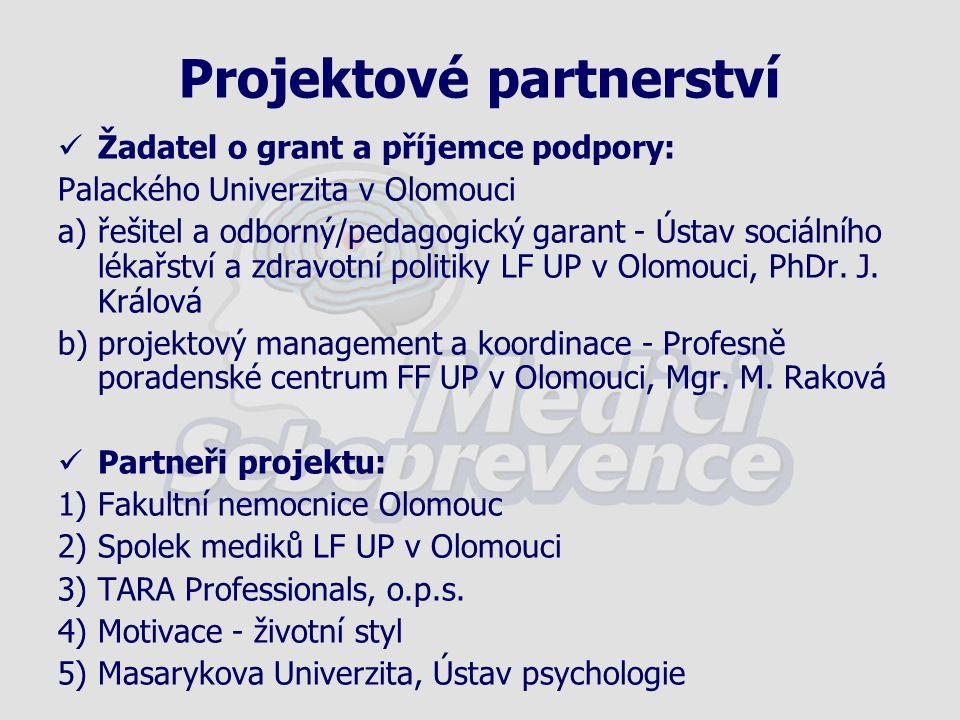 Projektové partnerství Žadatel o grant a příjemce podpory: Palackého Univerzita v Olomouci a)řešitel a odborný/pedagogický garant - Ústav sociálního l