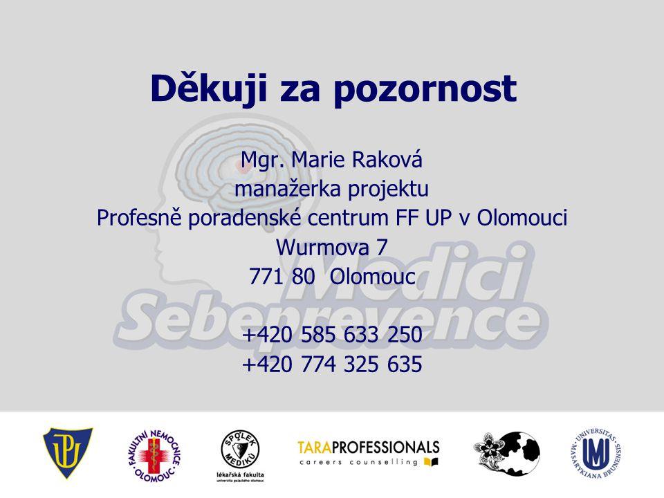 Děkuji za pozornost Mgr. Marie Raková manažerka projektu Profesně poradenské centrum FF UP v Olomouci Wurmova 7 771 80 Olomouc +420 585 633 250 +420 7