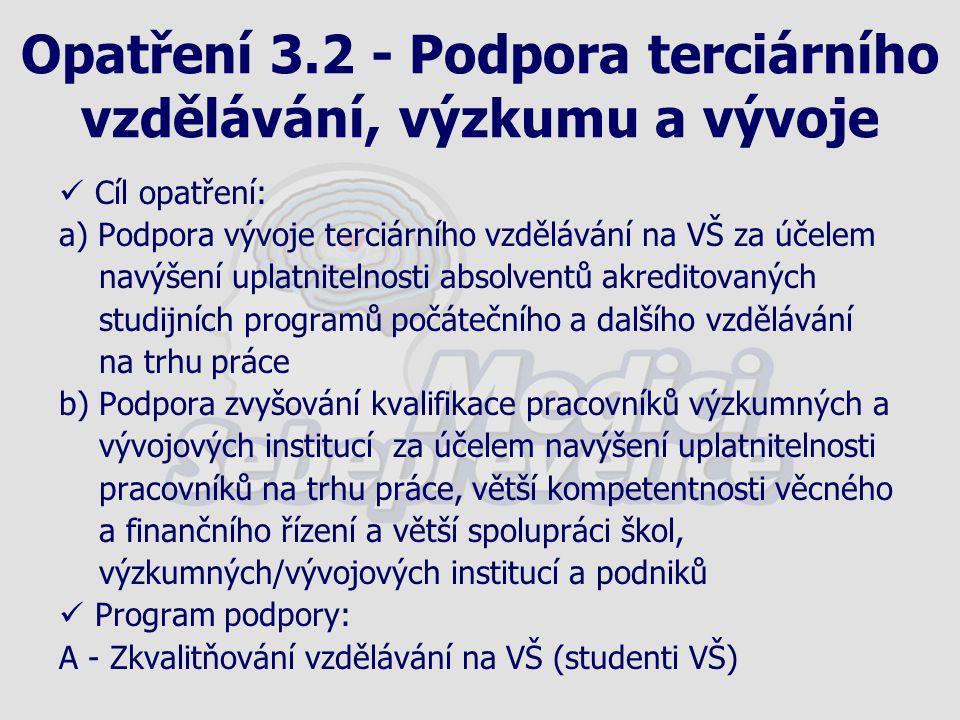 Opatření 3.2 - Podpora terciárního vzdělávání, výzkumu a vývoje Cíl opatření: a) Podpora vývoje terciárního vzdělávání na VŠ za účelem navýšení uplatn