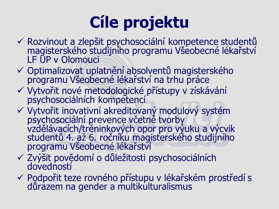 Cíle projektu Rozvinout a zlepšit psychosociální kompetence studentů magisterského studijního programu Všeobecné lékařství LF UP v Olomouci Optimalizo