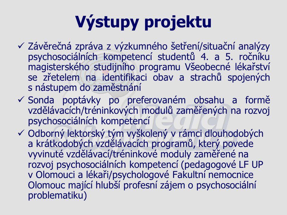 Závěrečná zpráva z výzkumného šetření/situační analýzy psychosociálních kompetencí studentů 4. a 5. ročníku magisterského studijního programu Všeobecn