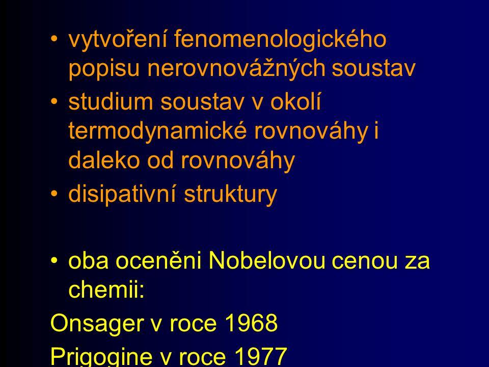 vytvoření fenomenologického popisu nerovnovážných soustav studium soustav v okolí termodynamické rovnováhy i daleko od rovnováhy disipativní struktury oba oceněni Nobelovou cenou za chemii: Onsager v roce 1968 Prigogine v roce 1977