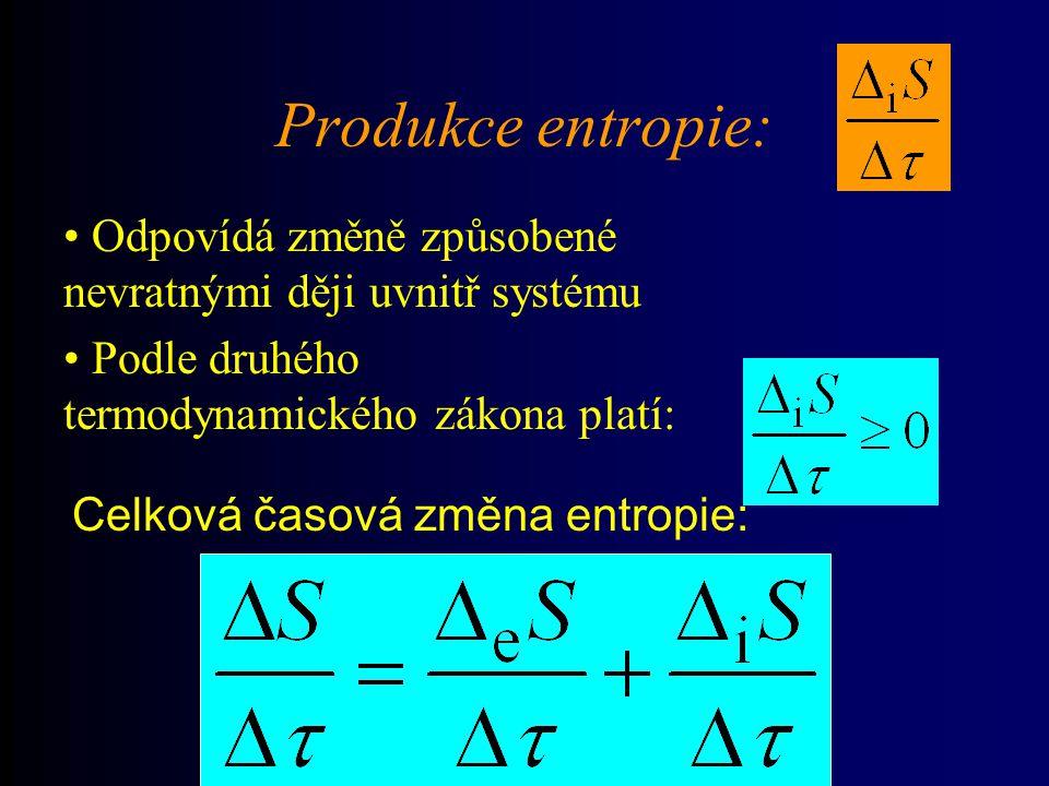 Produkce entropie: Celková časová změna entropie: Odpovídá změně způsobené nevratnými ději uvnitř systému Podle druhého termodynamického zákona platí: