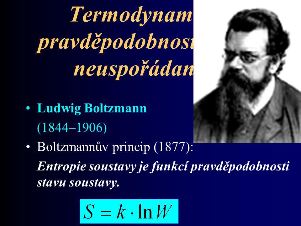 Termodynamická pravděpodobnost a míra neuspořádanosti Ludwig Boltzmann (1844–1906) Boltzmannův princip (1877): Entropie soustavy je funkcí pravděpodob
