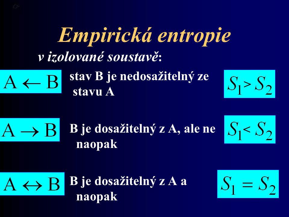 Empirická entropie v izolované soustavě : stav B je nedosažitelný ze stavu A B je dosažitelný z A, ale ne naopak B je dosažitelný z A a naopak > <