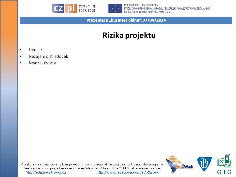 Rizika projektu Lokace Nezájem o středověk Neatraktivnost Projekt je spolufinancován z Evropského fondu pro regionální rozvoj v rámci Operačního progr