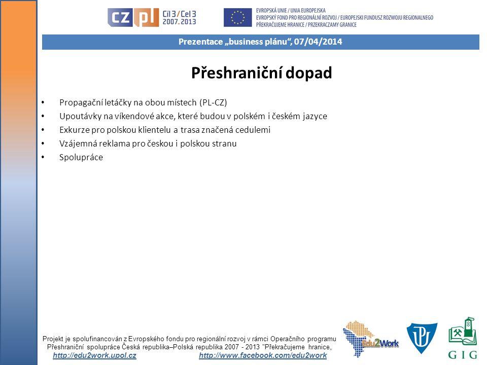 Přeshraniční dopad Propagační letáčky na obou místech (PL-CZ) Upoutávky na víkendové akce, které budou v polském i českém jazyce Exkurze pro polskou k