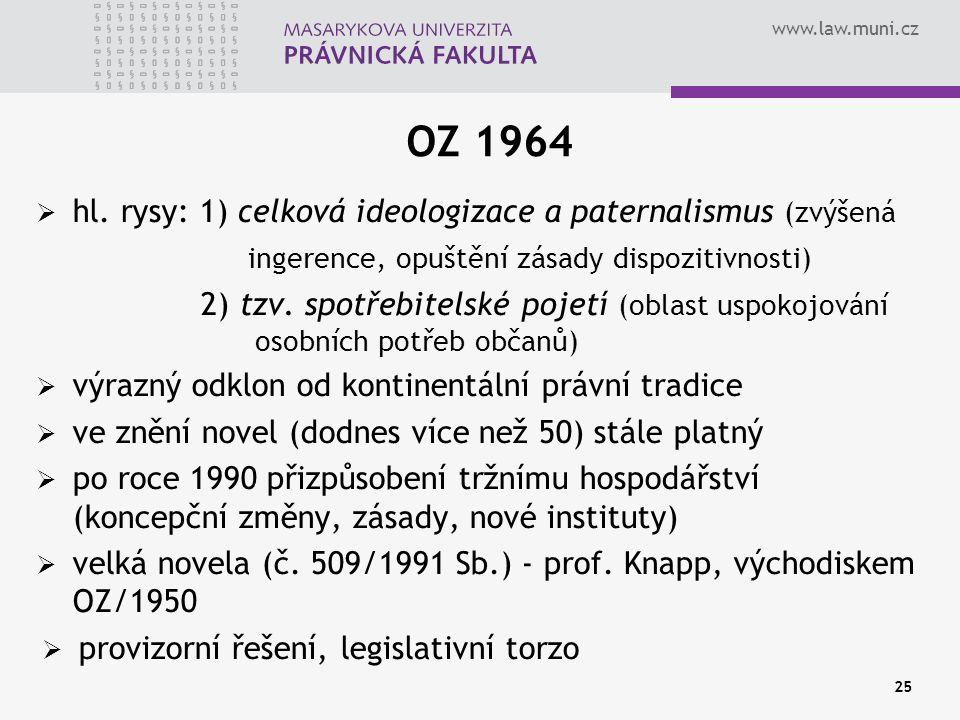 www.law.muni.cz 25 OZ 1964  hl. rysy: 1) celková ideologizace a paternalismus (zvýšená ingerence, opuštění zásady dispozitivnosti) 2) tzv. spotřebite