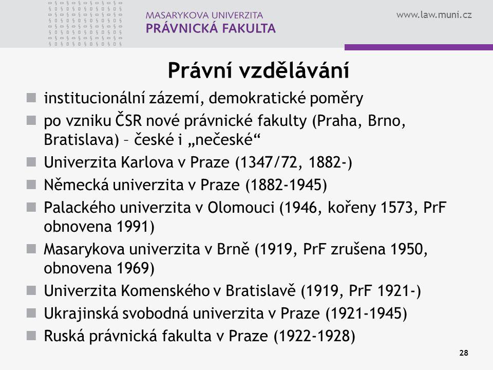 www.law.muni.cz 28 Právní vzdělávání institucionální zázemí, demokratické poměry po vzniku ČSR nové právnické fakulty (Praha, Brno, Bratislava) – česk