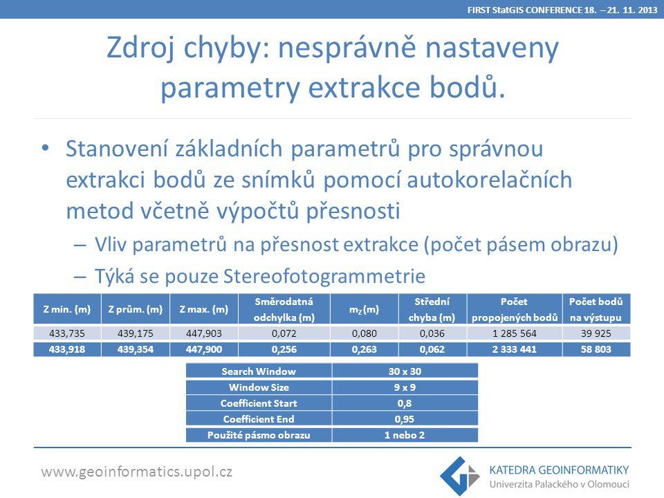 www.geoinformatics.upol.cz Zdroj chyby: nesprávně nastaveny parametry extrakce bodů.