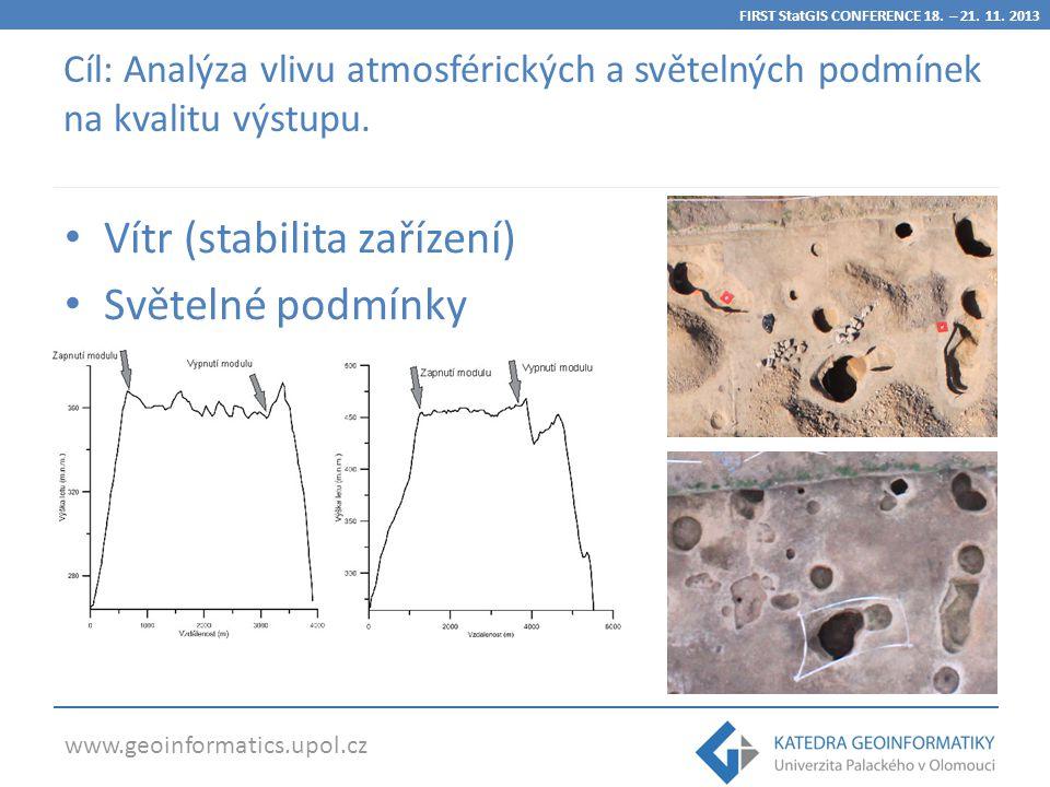 www.geoinformatics.upol.cz Vítr (stabilita zařízení) Světelné podmínky Cíl: Analýza vlivu atmosférických a světelných podmínek na kvalitu výstupu.