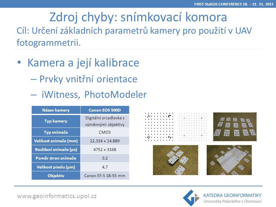 www.geoinformatics.upol.cz Kamera a její kalibrace – Prvky vnitřní orientace – iWitness, PhotoModeler Název kameryCanon EOS 500D Typ kamery Digitální zrcadlovka s výměnnými objektivy Typ snímačeCMOS Velikost snímače (mm)22,334 x 14,889 Rozlišení snímače (px)4752 x 3168 Poměr stran snímače3:2 Velikost pixelu (µm)4,7 ObjektivCanon EF-S 18-55 mm Zdroj chyby: snímkovací komora Cíl: Určení základních parametrů kamery pro použití v UAV fotogrammetrii.