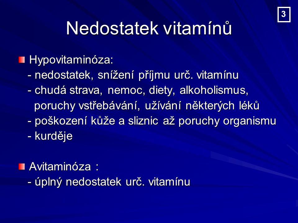 Nedostatek vitamínů Hypovitaminóza: - nedostatek, snížení příjmu urč.