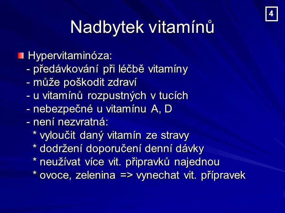 Nadbytek vitamínů Hypervitaminóza: - předávkování při léčbě vitamíny - předávkování při léčbě vitamíny - může poškodit zdraví - může poškodit zdraví - u vitamínů rozpustných v tucích - u vitamínů rozpustných v tucích - nebezpečné u vitamínu A, D - nebezpečné u vitamínu A, D - není nezvratná: - není nezvratná: * vyloučit daný vitamín ze stravy * vyloučit daný vitamín ze stravy * dodržení doporučení denní dávky * dodržení doporučení denní dávky * neužívat více vit.