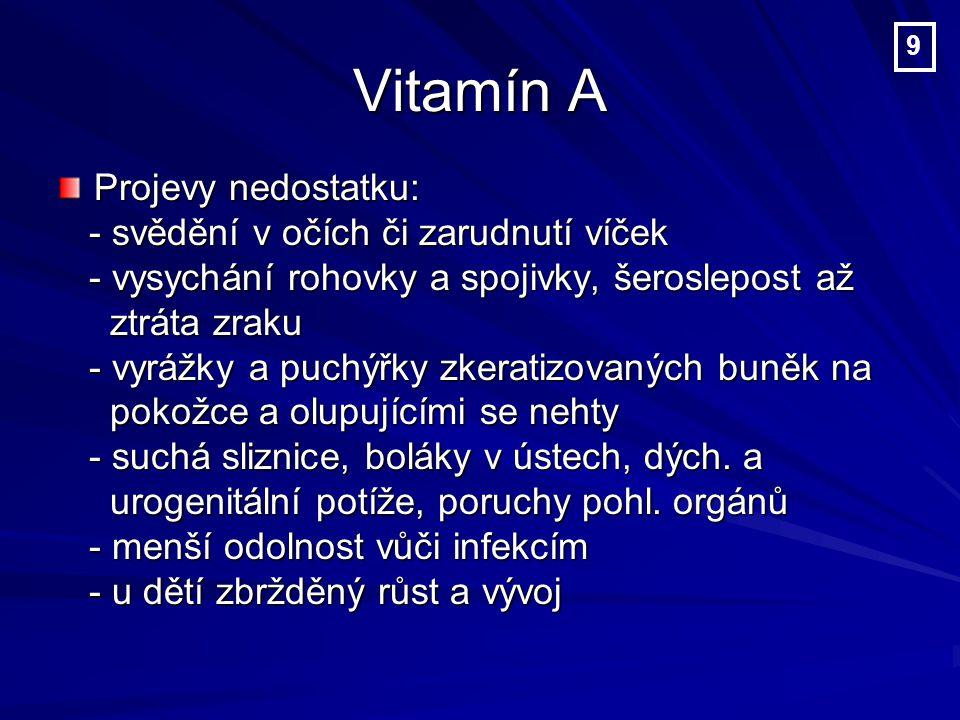 Vitamín A Projevy a nebezpečí nadbytku: 1) retinolu z živočišných jater a 1) retinolu z živočišných jater a farmaceutických přípravků: farmaceutických přípravků: - únava, nervozita, bolesti kostí, - únava, nervozita, bolesti kostí, odvápnění kostí, bolesti hlavy a závratě odvápnění kostí, bolesti hlavy a závratě - praskání a krvácení rtů, podrážděnost - praskání a krvácení rtů, podrážděnost 2) beta karotenu: hrozí pouze u kuřáků 2) beta karotenu: hrozí pouze u kuřáků 10