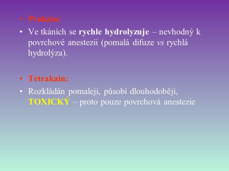 Prokain: Ve tkáních se rychle hydrolyzuje – nevhodný k povrchové anestezii (pomalá difuze vs rychlá hydrolýza). Tetrakain: Rozkládán pomaleji, působí