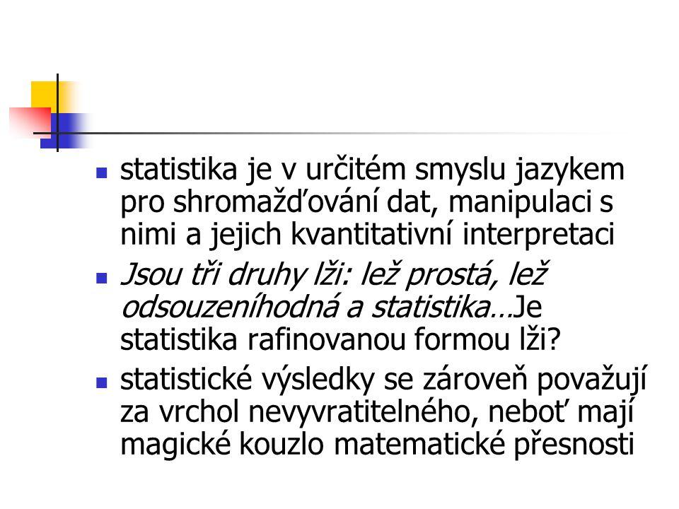 statistika je v určitém smyslu jazykem pro shromažďování dat, manipulaci s nimi a jejich kvantitativní interpretaci Jsou tři druhy lži: lež prostá, lež odsouzeníhodná a statistika…Je statistika rafinovanou formou lži.
