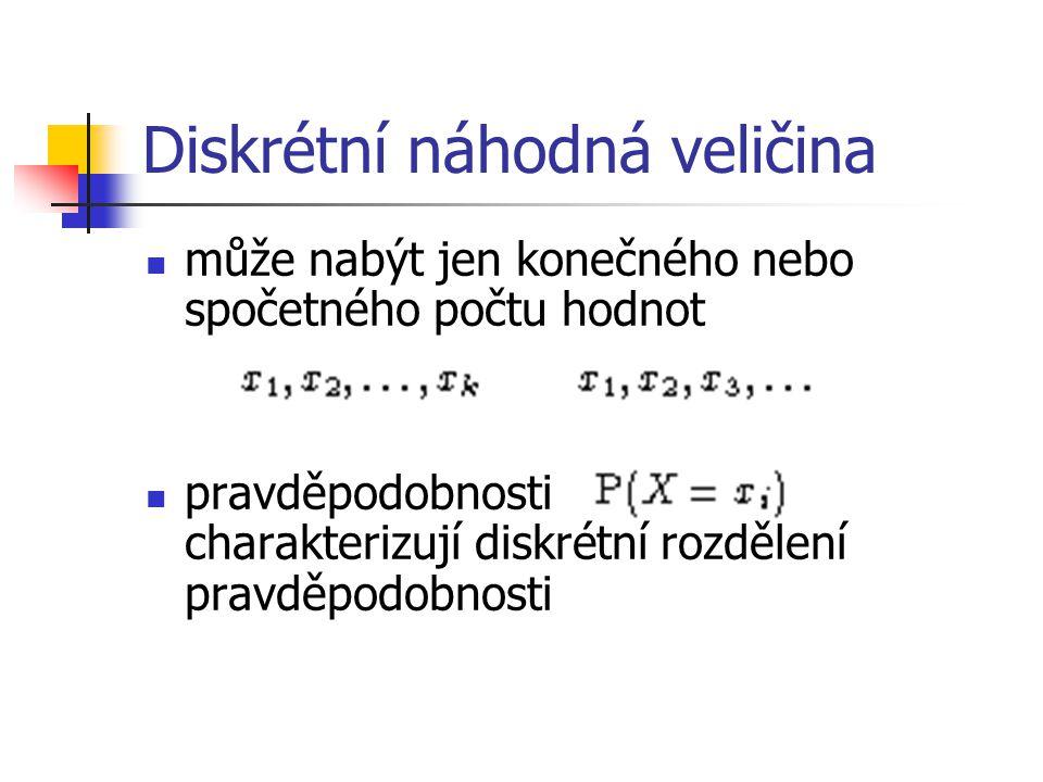 Diskrétní náhodná veličina může nabýt jen konečného nebo spočetného počtu hodnot pravděpodobnosti charakterizují diskrétní rozdělení pravděpodobnosti