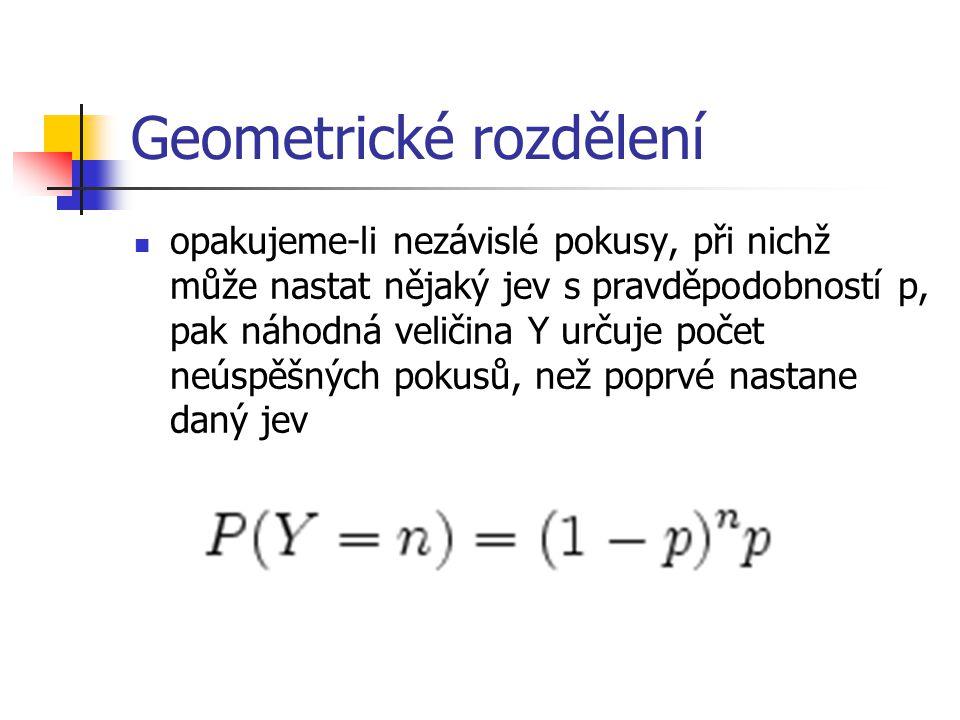 Geometrické rozdělení opakujeme-li nezávislé pokusy, při nichž může nastat nějaký jev s pravděpodobností p, pak náhodná veličina Y určuje počet neúspě