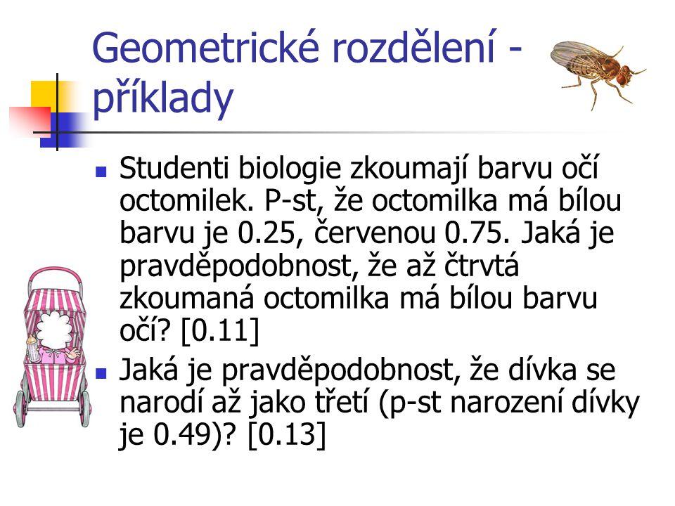 Geometrické rozdělení - příklady Studenti biologie zkoumají barvu očí octomilek. P-st, že octomilka má bílou barvu je 0.25, červenou 0.75. Jaká je pra