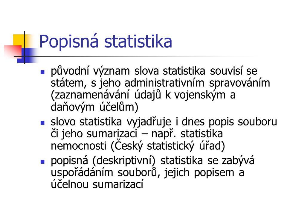 Popisná statistika původní význam slova statistika souvisí se státem, s jeho administrativním spravováním (zaznamenávání údajů k vojenským a daňovým účelům) slovo statistika vyjadřuje i dnes popis souboru či jeho sumarizaci – např.