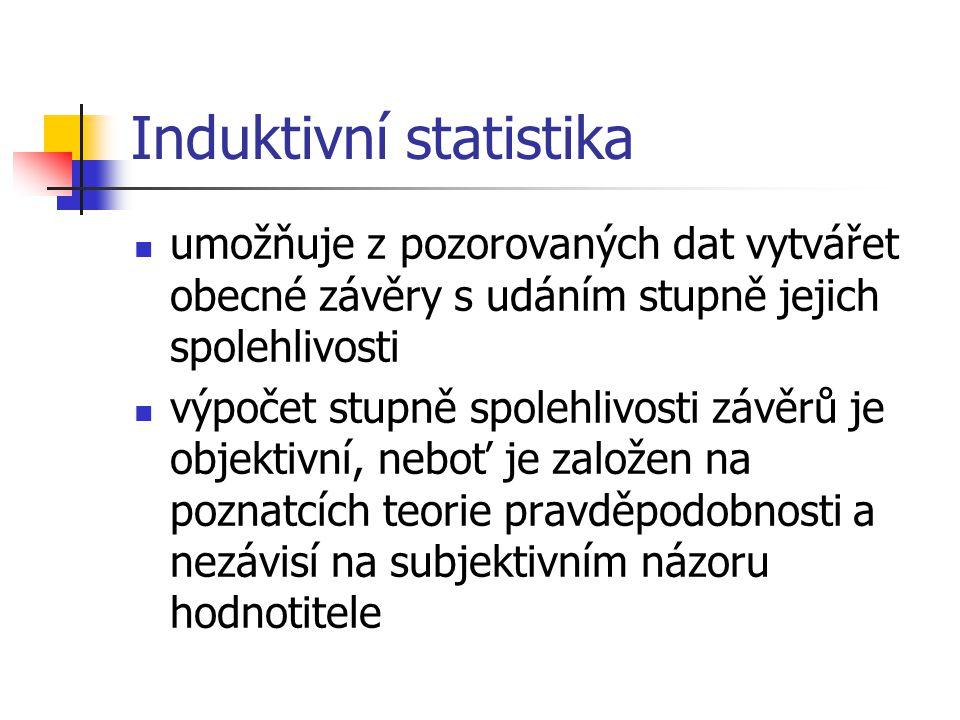 Induktivní statistika umožňuje z pozorovaných dat vytvářet obecné závěry s udáním stupně jejich spolehlivosti výpočet stupně spolehlivosti závěrů je o