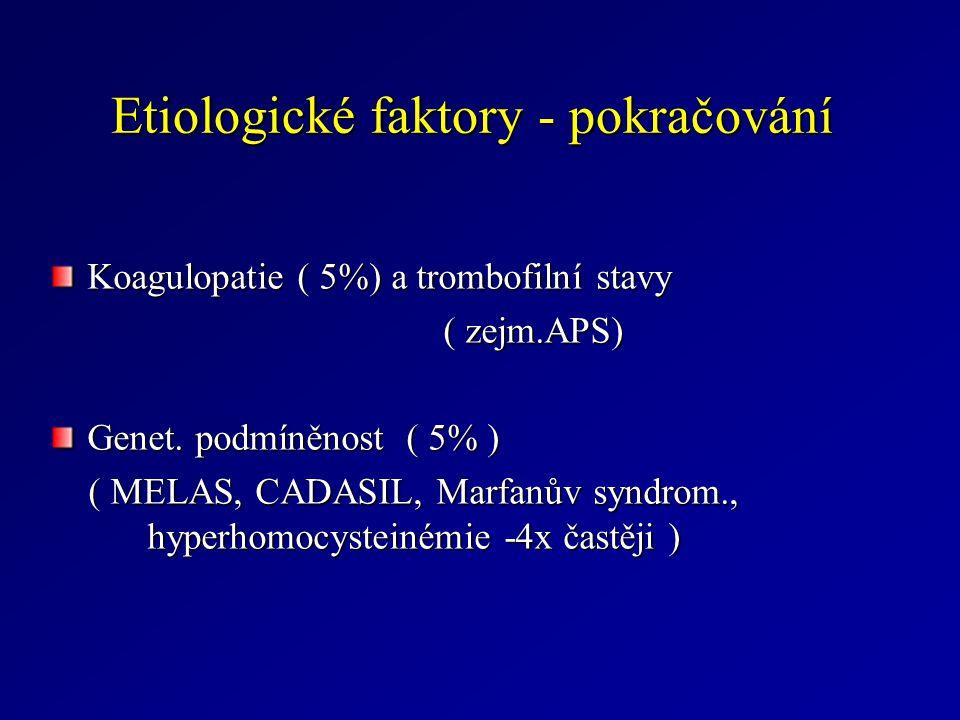 Etiologické faktory - pokračování Koagulopatie ( 5%) a trombofilní stavy ( zejm.APS) ( zejm.APS) Genet.