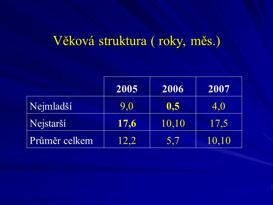 Věková struktura ( roky, měs.) 200520062007 Nejmladší9,00,50,54,0 Nejstarší17,610,1017,5 Průměr celkem12,25,710,10