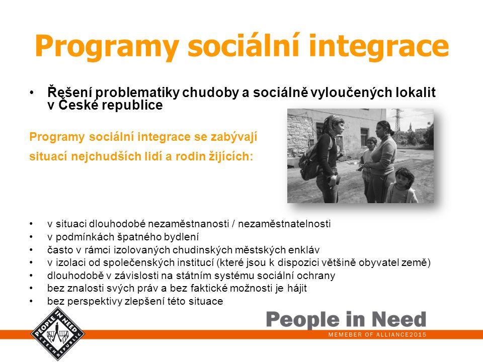 Programy sociální integrace Řešení problematiky chudoby a sociálně vyloučených lokalit v České republice Programy sociální integrace se zabývají situa
