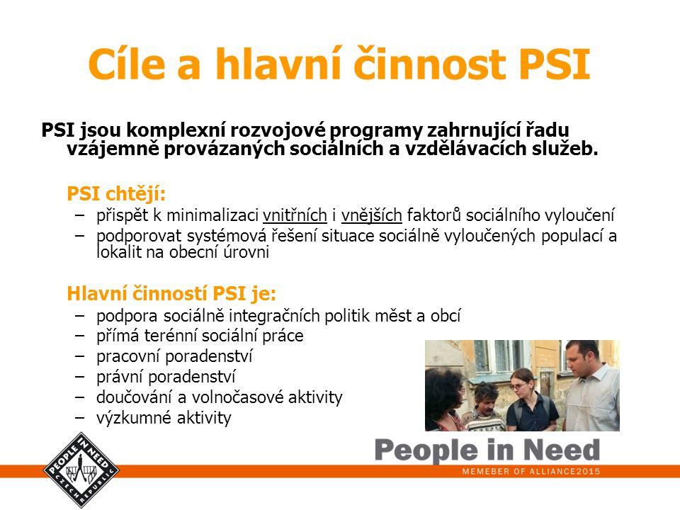 Cíle a hlavní činnost PSI PSI jsou komplexní rozvojové programy zahrnující řadu vzájemně provázaných sociálních a vzdělávacích služeb. PSI chtějí: –př