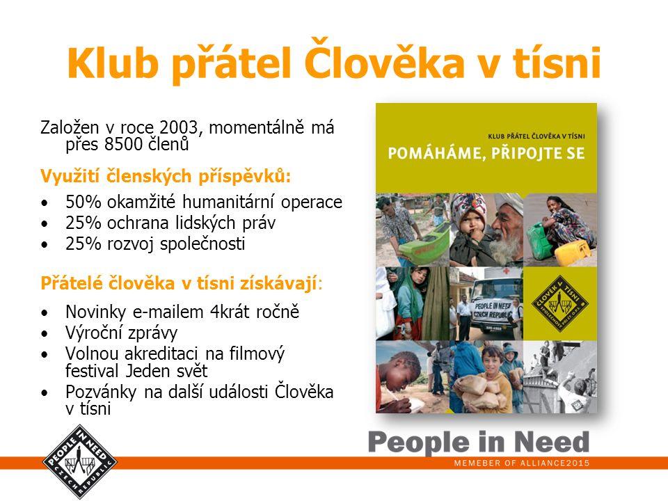 Klub přátel Člověka v tísni Založen v roce 2003, momentálně má přes 8500 členů Využití členských příspěvků: 50% okamžité humanitární operace 25% ochra