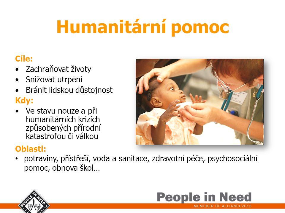 Humanitární pomoc Cíle: Zachraňovat životy Snižovat utrpení Bránit lidskou důstojnost Kdy: Ve stavu nouze a při humanitárních krizích způsobených přír