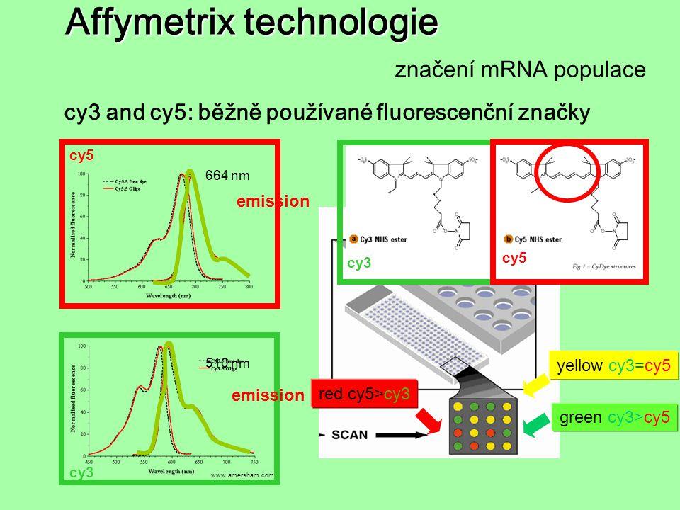 Affymetrix technologie značení mRNA populace cy3 cy5 www.amersham.com cy3 cy5 664 nm 510 nm emission cy3 and cy5: běžně používané fluorescenční značky