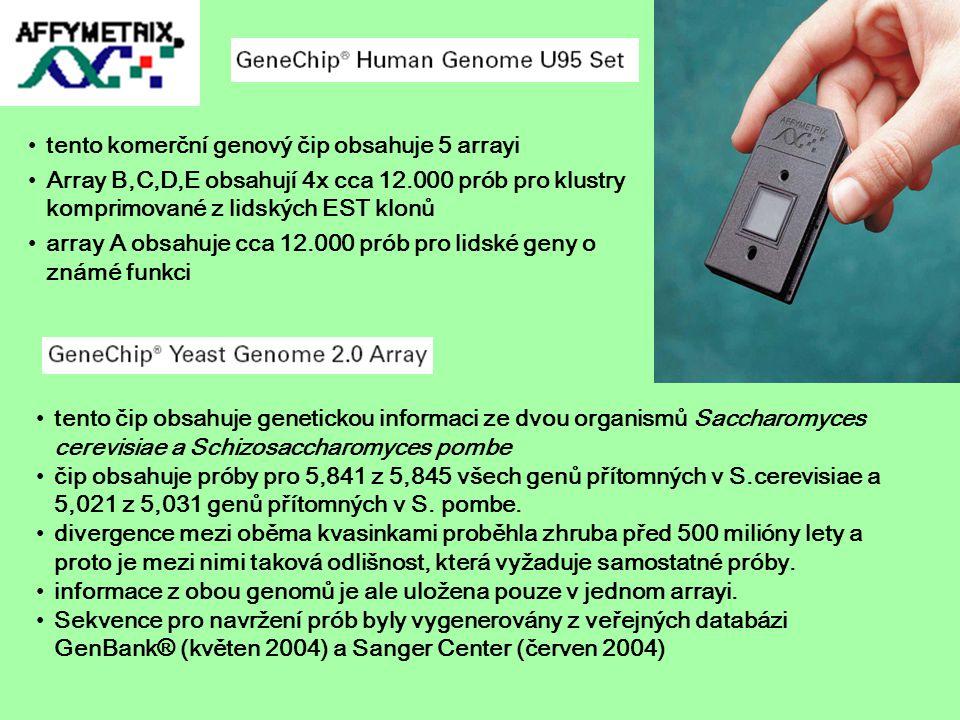 tento komerční genový čip obsahuje 5 arrayi Array B,C,D,E obsahují 4x cca 12.000 prób pro klustry komprimované z lidských EST klonů array A obsahuje c