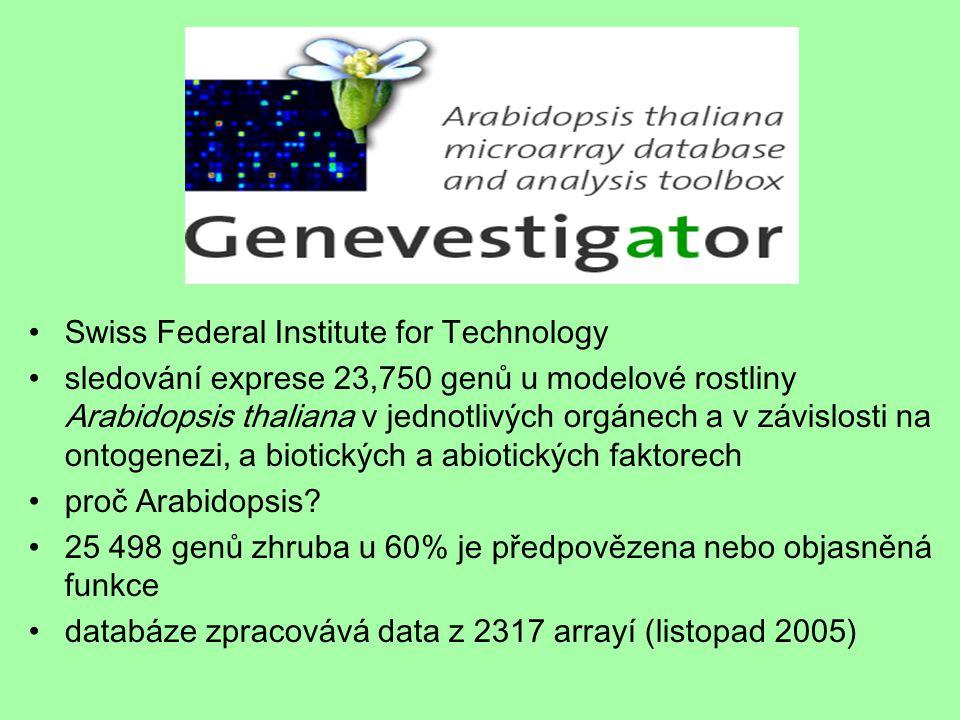 Swiss Federal Institute for Technology sledování exprese 23,750 genů u modelové rostliny Arabidopsis thaliana v jednotlivých orgánech a v závislosti n