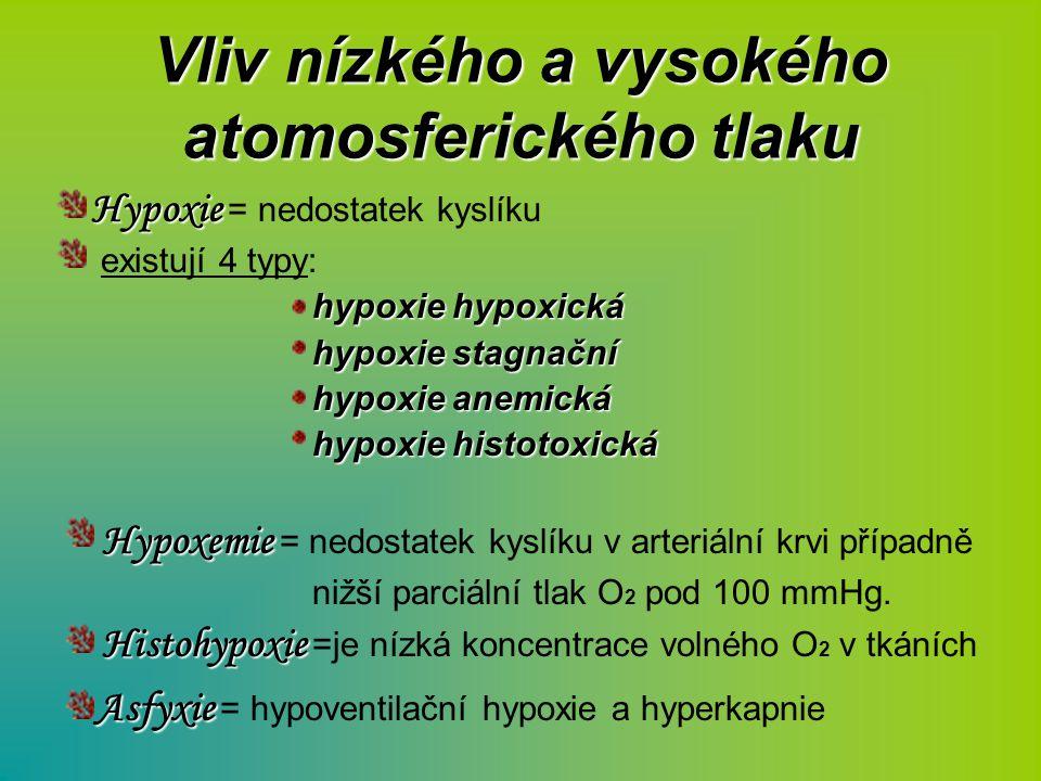 Vliv nízkého a vysokého atomosferického tlaku Hypoxie Hypoxie = nedostatek kyslíku existují 4 typy: hypoxie hypoxická hypoxie stagnační hypoxie anemic