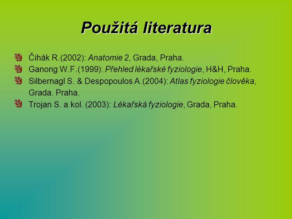 Použitá literatura Čihák R.(2002): Anatomie 2, Grada, Praha. Ganong W.F.(1999): Přehled lékařské fyziologie, H&H, Praha. Silbernagl S. & Despopoulos A