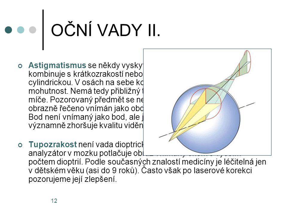 12 OČNÍ VADY II. Astigmatismus se někdy vyskytuje samostatně, ale často se kombinuje s krátkozrakostí nebo dalekozrakostí. Jde o vadu cylindrickou. V