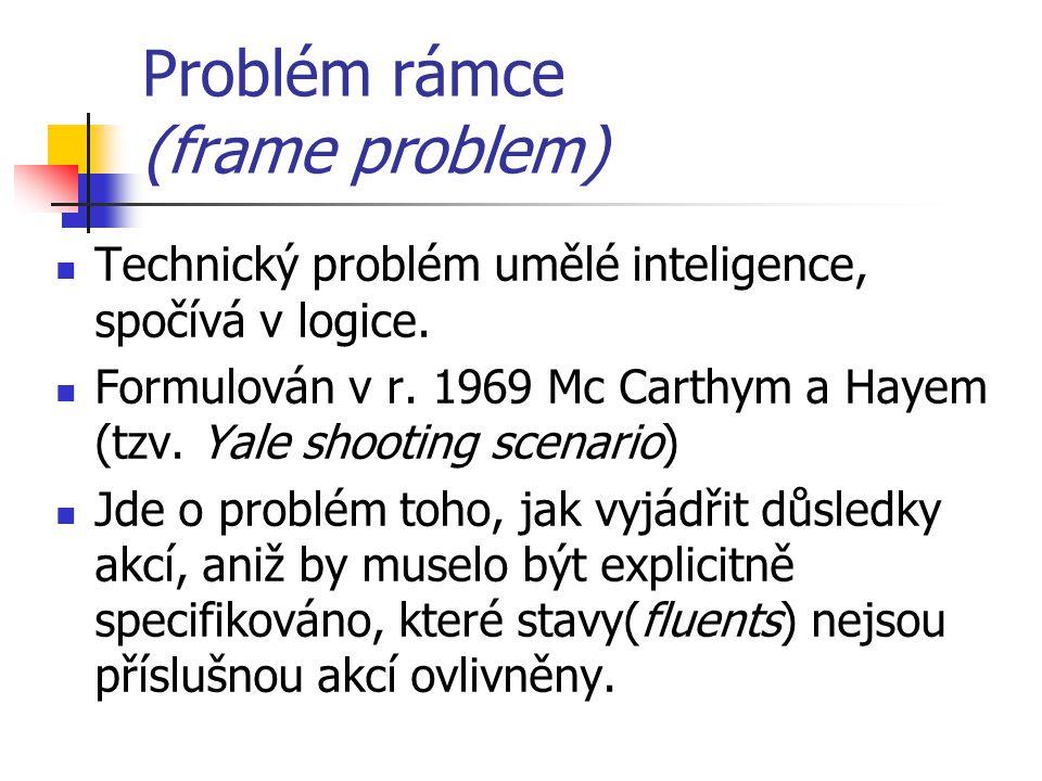 Problém rámce (frame problem) Technický problém umělé inteligence, spočívá v logice. Formulován v r. 1969 Mc Carthym a Hayem (tzv. Yale shooting scena