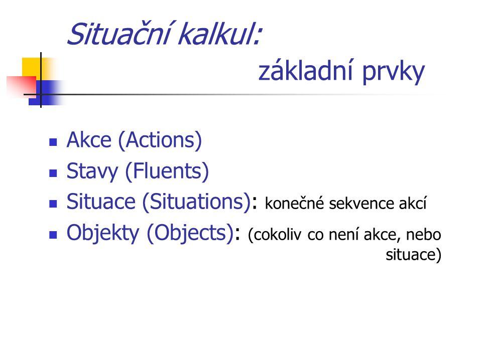 Situační kalkul: základní prvky Akce (Actions) Stavy (Fluents) Situace (Situations): konečné sekvence akcí Objekty (Objects): (cokoliv co není akce, nebo situace)