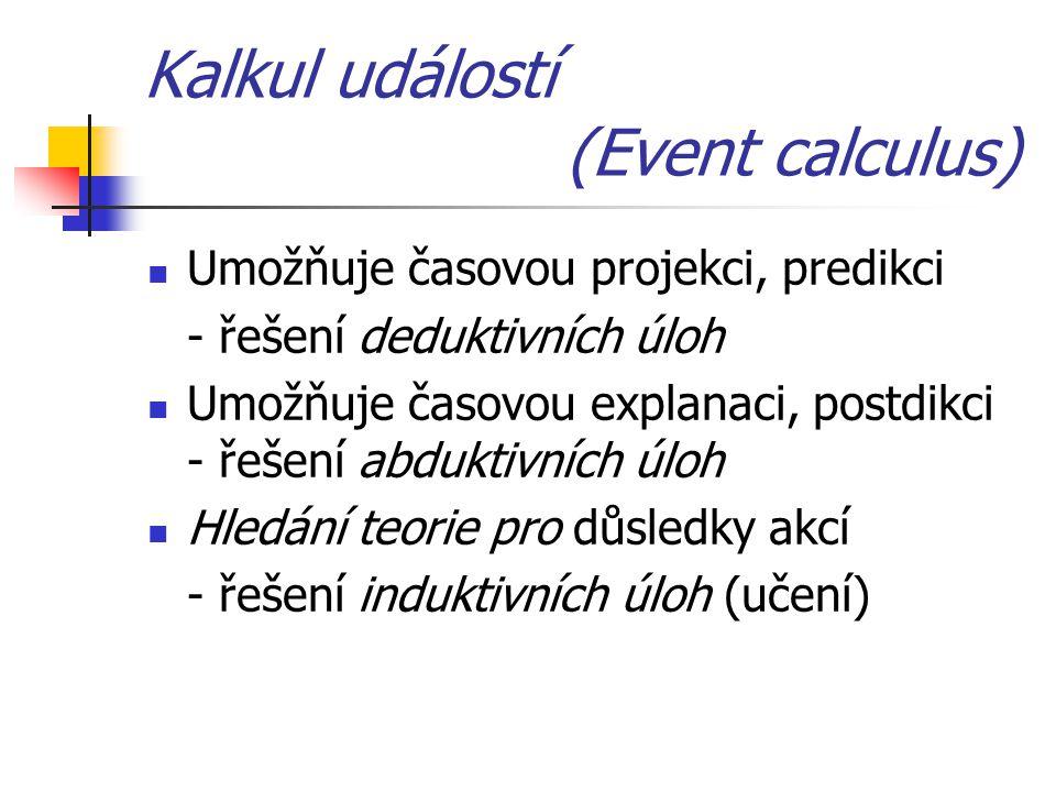 Kalkul událostí (Event calculus) Umožňuje časovou projekci, predikci - řešení deduktivních úloh Umožňuje časovou explanaci, postdikci - řešení abduktivních úloh Hledání teorie pro důsledky akcí - řešení induktivních úloh (učení)