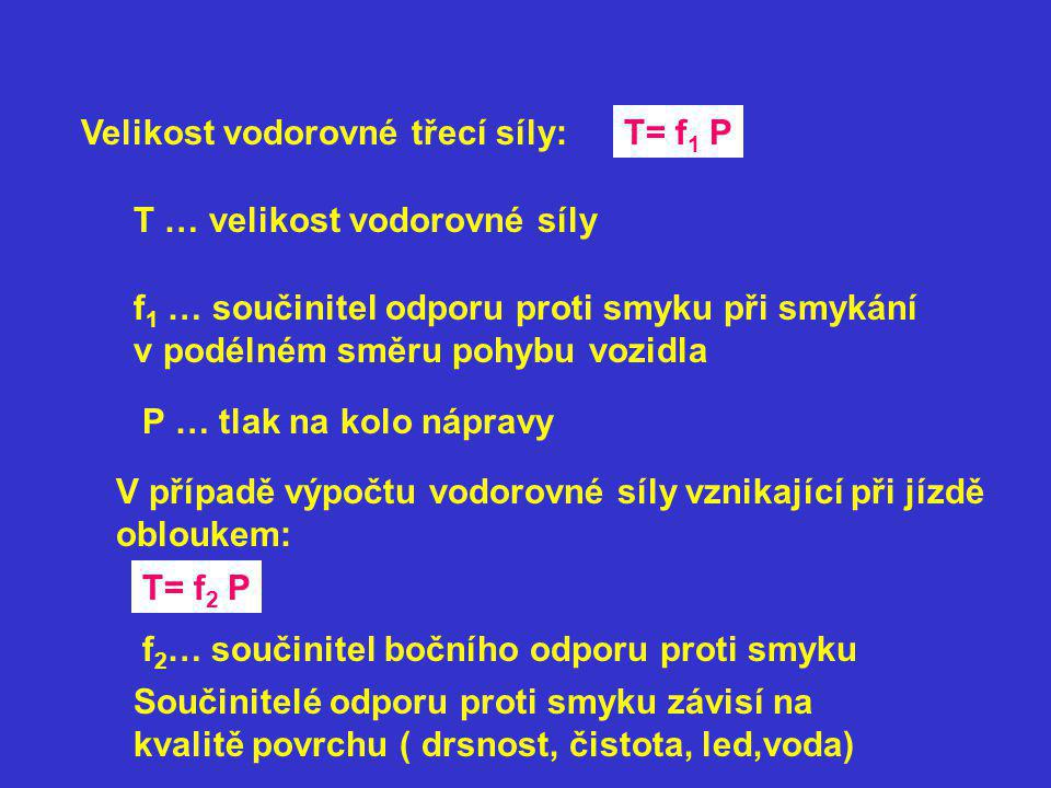 Velikost vodorovné třecí síly:T= f 1 P T … velikost vodorovné síly f 1 … součinitel odporu proti smyku při smykání v podélném směru pohybu vozidla P … tlak na kolo nápravy V případě výpočtu vodorovné síly vznikající při jízdě obloukem: T= f 2 P f 2 … součinitel bočního odporu proti smyku Součinitelé odporu proti smyku závisí na kvalitě povrchu ( drsnost, čistota, led,voda)