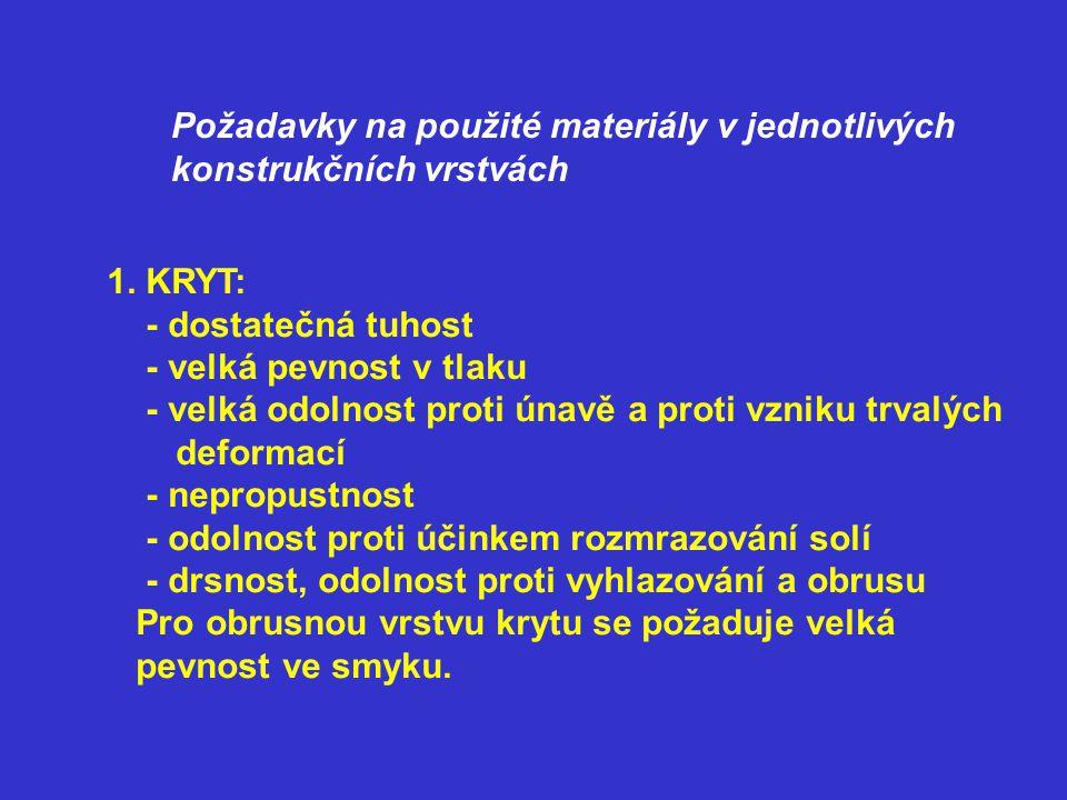 Požadavky na použité materiály v jednotlivých konstrukčních vrstvách 1. KRYT: - dostatečná tuhost - velká pevnost v tlaku - velká odolnost proti únavě