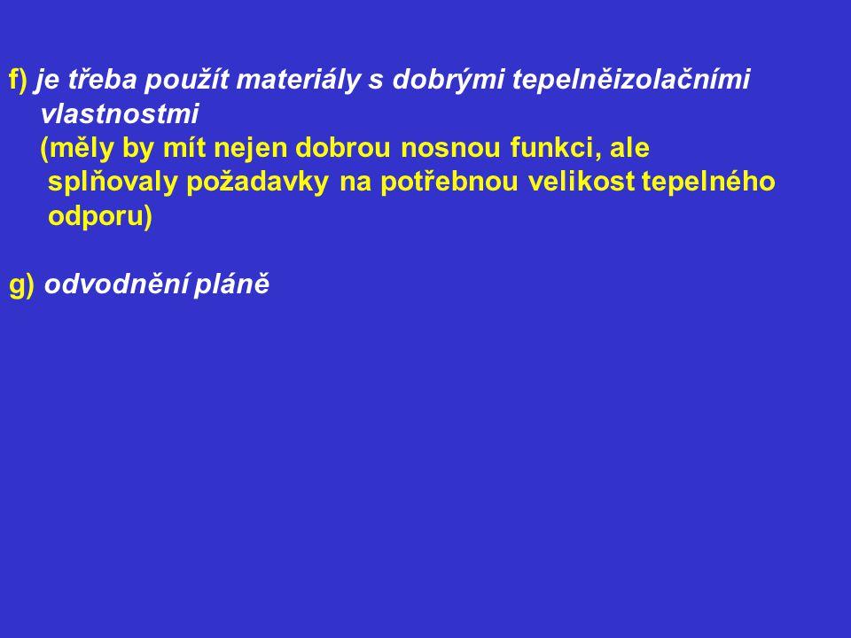 f) je třeba použít materiály s dobrými tepelněizolačními vlastnostmi (měly by mít nejen dobrou nosnou funkci, ale splňovaly požadavky na potřebnou vel
