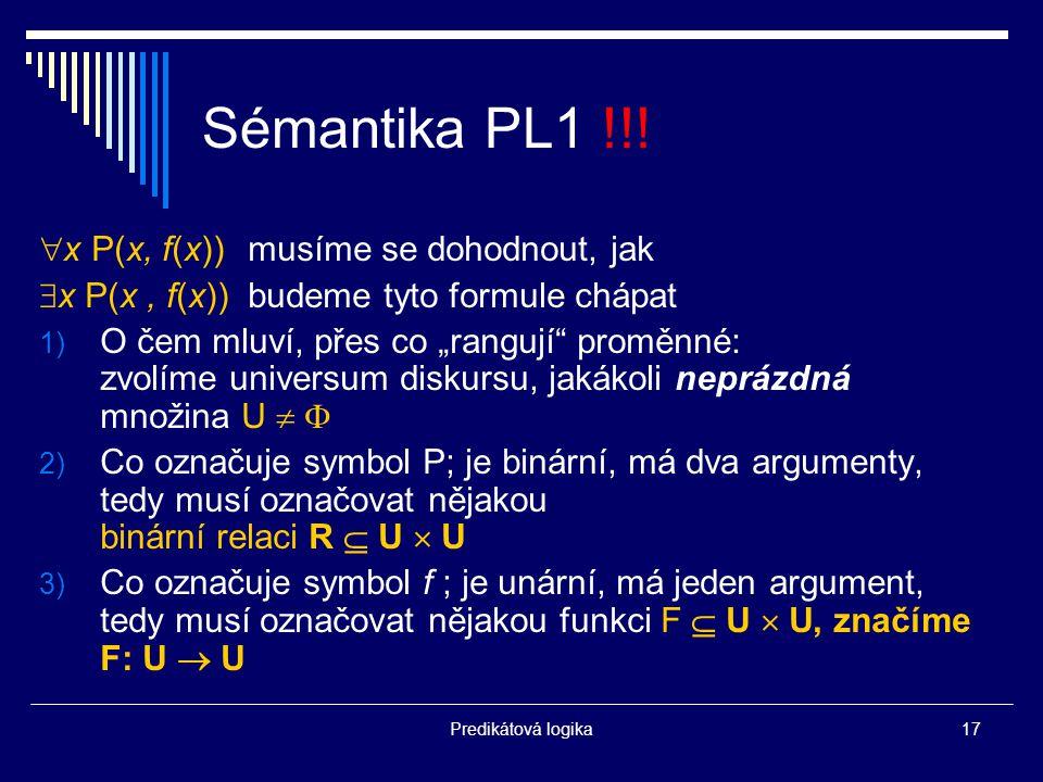 Predikátová logika17 Sémantika PL1 !!.